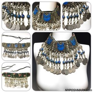 Gypsy Tribal Belly Dance Lapis Necklace 1970's